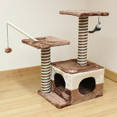 Cat/Kitten Brown/Beige Double Play Tree & Scratcher Activity Centre/Station