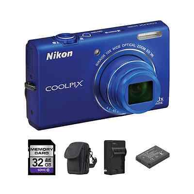 Nikon Coolpix S6200 Digital Camera - Blue + 2 Batteries, 32GB & More