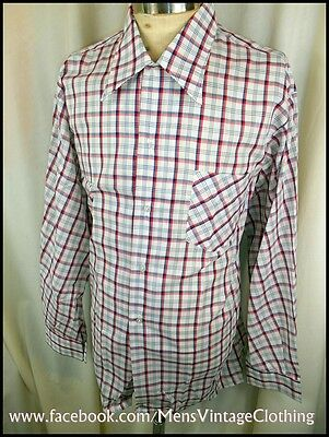 Vintage 70's Red White Blue Plaid Poly/Cotton Target Dress Shirt Size XOS AS NEW
