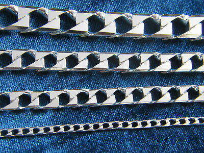 Real 925 Sterling Silver Solid Real Men  Italian Cuban SQUARE Curb Link Chain
