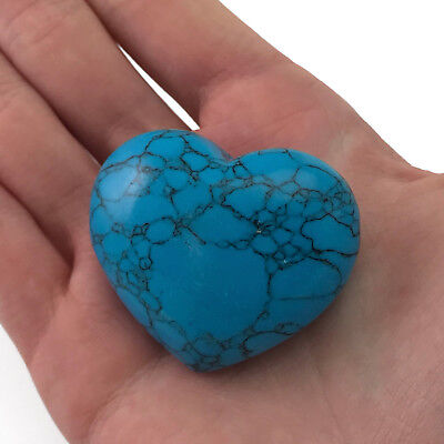 Puffy Heart Turquoise Howlite Large Palm Hand Carved Gemstone Stone Love Crystal