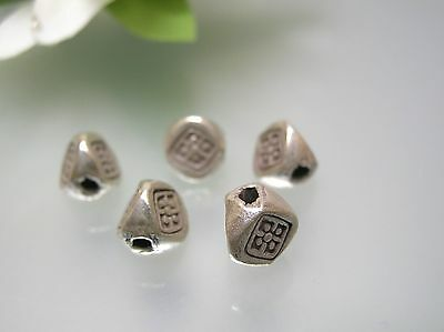 Vintage heavier 3D triangle tube antique design 925 sterling silver spacer beads