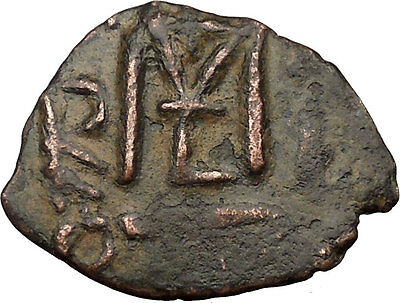 Heraclius & Two Sons w cross   610AD Ancient BYZANTINE Coin Large M  i36833