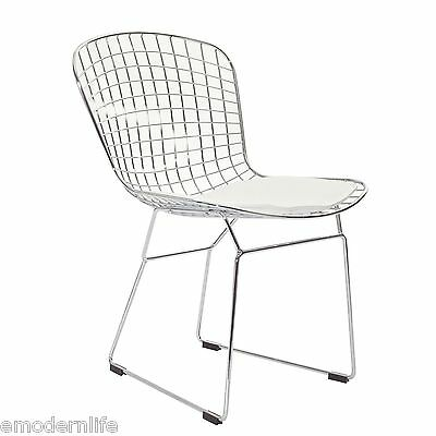 modern bertoia style side chair mid century modern design : white pad