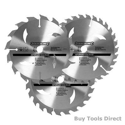 3 x Cordless Circular Saw Blades for Wood to fit Dewalt Makita Ryobi Bosch Sizes