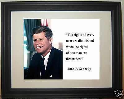 "President John F. Kennedy JFK  "" diminished... "" Quote Framed Photo Picture"