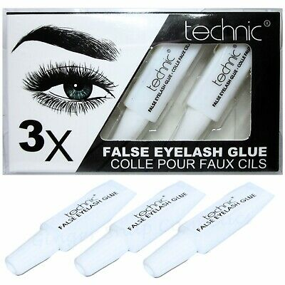 TECHNIC EYELASH GLUE 3 x Tubes CLEAR Fake False Adhesive Set Strong Sealed Lash