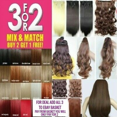 Claw Ponytail Piece Hair Extensions pale dark blonde dark brown black plum Red
