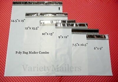 30 Poly Bag Self-Seal Envelope Mailer Variety 5 each of 6 Sizes 2.5 Mil Quality