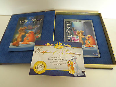 LADY AND THE TRAMP COLLECTORS SET DVD/BLU-RAY LENTICULAR CARD COA LE 1500 OOP