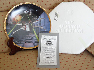 Star Wars Space Vehicles Red Five X-Wing Fighter Plate #1240A Cib Coa 1995