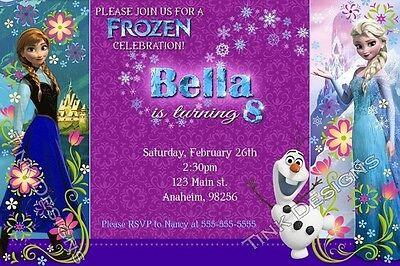 Frozen Anna Olaf snow Birthday party invitations Elsa favor