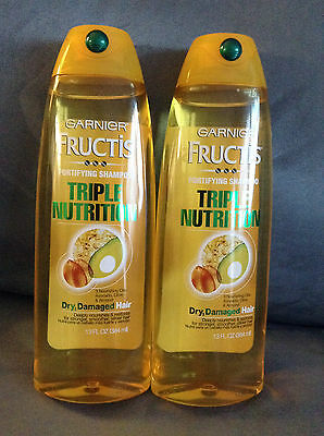 "LOT OF 2 GARNIER FRUCTIS ""TRIPLE NUTRITION"" FORTIFYING SHAMPOO 13 FL OZ BOTTLES"