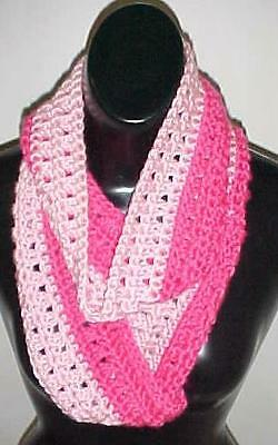 Hand Crochet 2-Tone Pink Loop Infinity Circle Scarf/Neck Warmer New