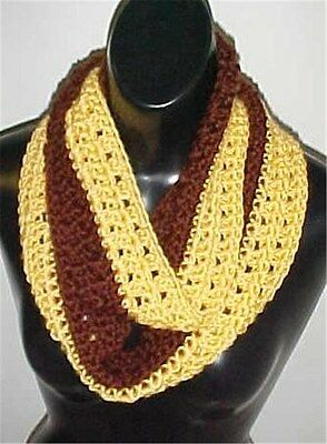 Hand Crochet 2-Tone Brown/Yellow Loop Infinity Circle Scarf/Neck Warmer New