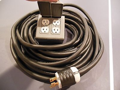 HEAVY DUTY 50 Foot Generator Extension Drop Cord L14-30 Plug w/ 4-20 AMP Outlets
