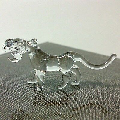 Tiny Crystal Tiger Hand Blown Clear Glass Art Figurine Miniature Wild Collection