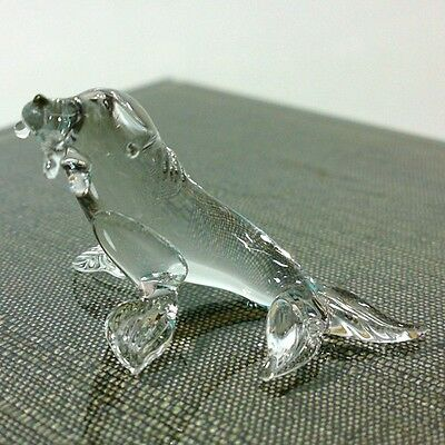 TINY CRYSTAL SEAL HAND BLOWN CLEAR GLASS ART FIGURINE UNDER SEA COLLECTION