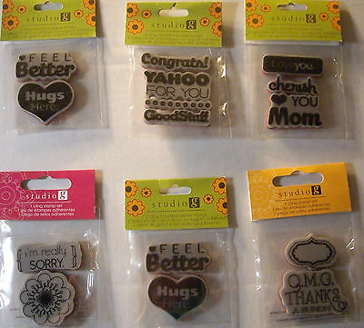 NEW GREETING CARD WORDS & DESIGNS STAMP SETS  * Your Choice Design*  STUDIO G