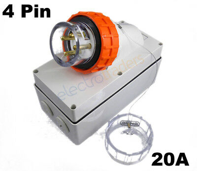 GEN3 20 AMP 3 Phase 4 Pin Round Electrical Appliance Inlet.