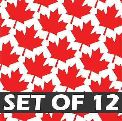 Set of 12 MAPLE LEAFS Vinyl Decal Sticker - Canadian Flag Truck Jeep Honda