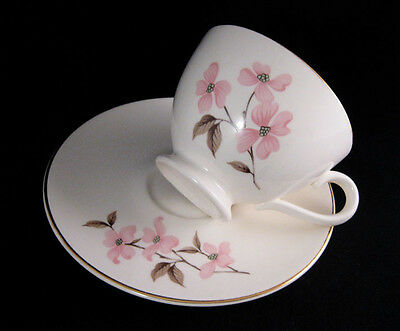 KNOWLES Pink Dogwood Footed Tea cup & Saucer Set