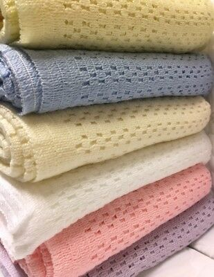 Acrylic Cellular Weave Blanket 6 colours New & Improved