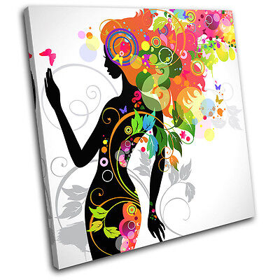 Floral Lady Fashion SINGLE CANVAS WALL ART Picture Print VA