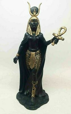 Ancient Egyptian Decorative Mother Goddess Hathor Black & Gold Figurine Statue