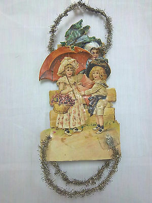 Victorian Handcrafted Christmas Ornament Of Three Children W/ Garland **