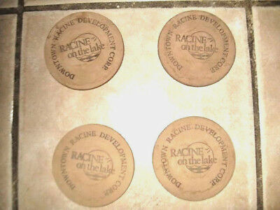 "~ 4 Pack of Original Leather Coaster Racine ""On The Lake Vintage"" Slightly Use ~"