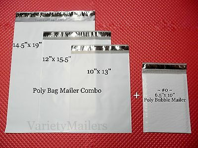 45 Poly Bag + 5 Poly Bubble Padded Envelope Mailers ~ Mixed Lot of 4 Sizes ~