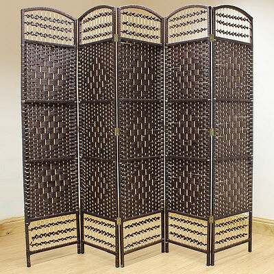 Brown 5 Panel Wicker Room Divider Hand Made Privacy Screen/Separator/Partition