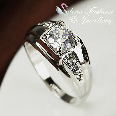 18K White Gold Plated Simulated Diamond Classic Men's Engagement Wedding Ring