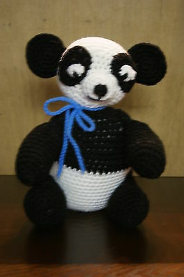Hand Made Crochet Panda Bear Stuffed Toy   New