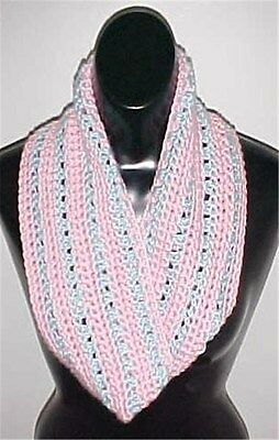 Hand Crochet Pink/Blue Loop Infinity Circle Scarf/Neckwarmer New