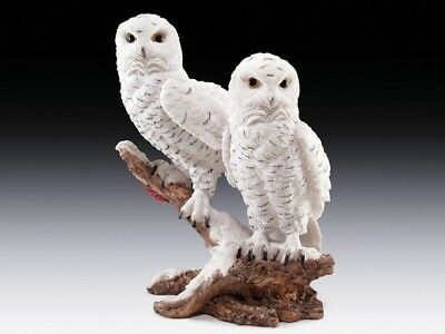 White Snow Owls Family Perching on Tree Branch Figurine Statue Animal Kingdom