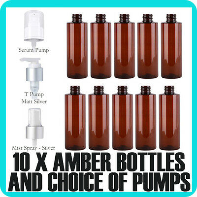 10x  Amber PET plastic Bottles 125ml with choice of lid Bulk Cosmetic Packaging