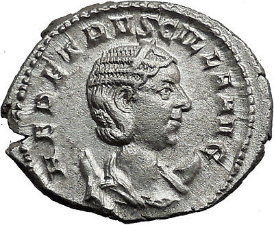 Herennia Etruscilla Hostilian mom Silver Ancient  Roman Coin Modesty Cult i37296