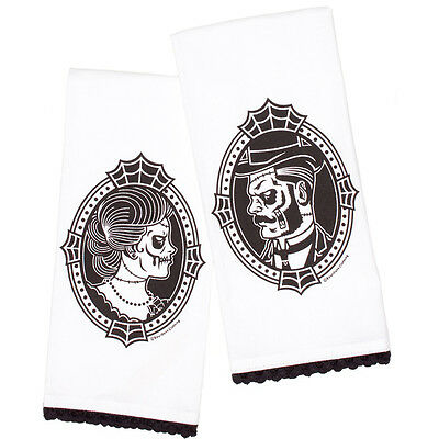 Sourpuss Zombie Cameo Tea Towel Set Victorian Undead Cobwebs