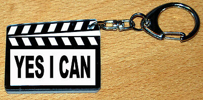 Porte-cles style clap cinema message «YES I CAN»