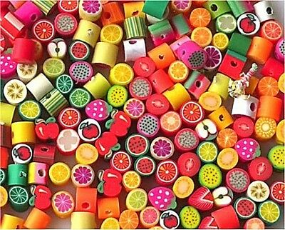 New!!! Bulk 100 Mixed Small Fimo Polymer Clay Fruit Beads - Gorgeous