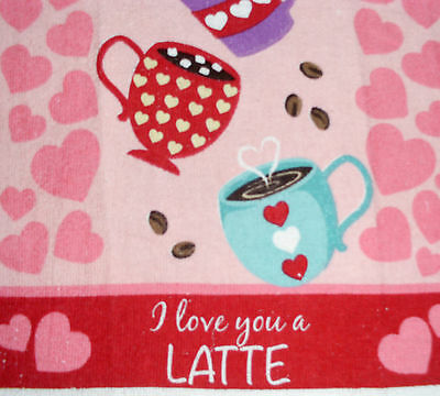 Kitchen Dish Towels W Crochet Tops  listing # t436 Valentine's Day Coffee Hearts