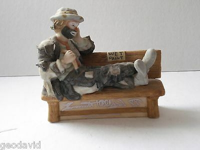 Original Emmett Kelly Jr. Wet Paint Bench Figurine Signed 1988 Flambro Miniature