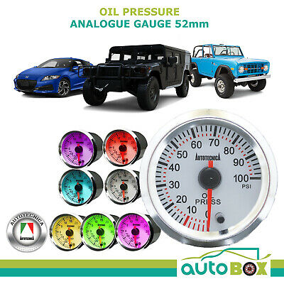 OIL PRESSURE Gauge 52mm Analogue Gauge by Autotecnica 7 Colours guage