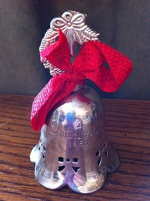 "International Silver Co Silverplated BELL Bows  3 3/4"" ""Christmas 1997"" India"
