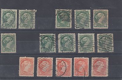 Small Queen 2c and 3c superb centering  lot Canada used
