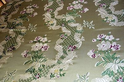 Scalamandre Chandler Silk Lampas Fabric 7.3 Yards Rtls $5541 Tarragon