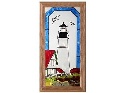 Lighthouse Hand Painted Stained Glass Art Window Suncatcher