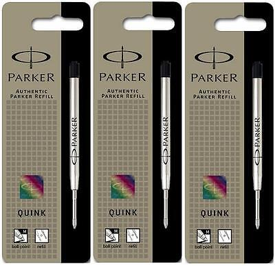 PARKER REFILL x 3 BALLPOINT MEDIUM BLACK NEW QUINK ORIGINAL